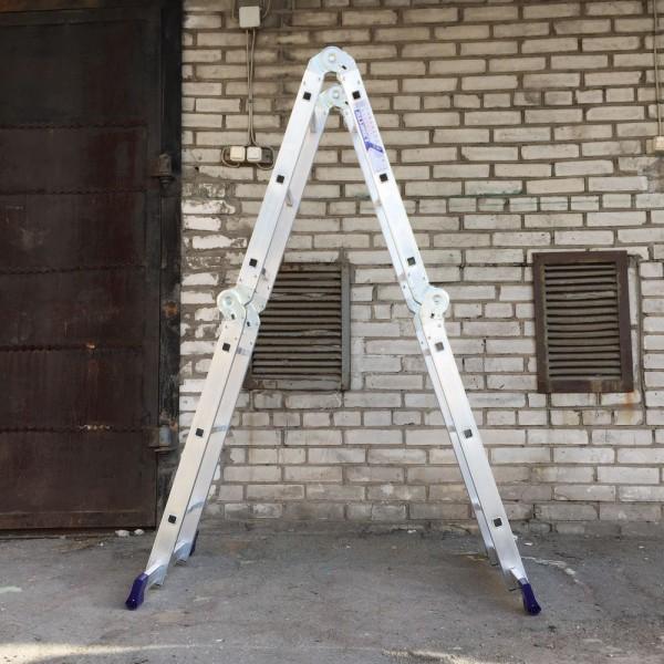 Лестница алюминиевая шарнирная (4*3)  Т433 - 2