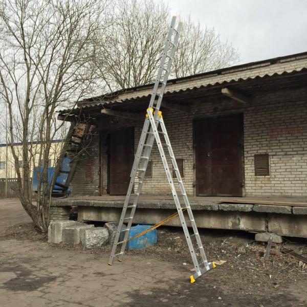 Алюминиевая трехсекционная универсальная профессиональная лестница P3 9312 - 1