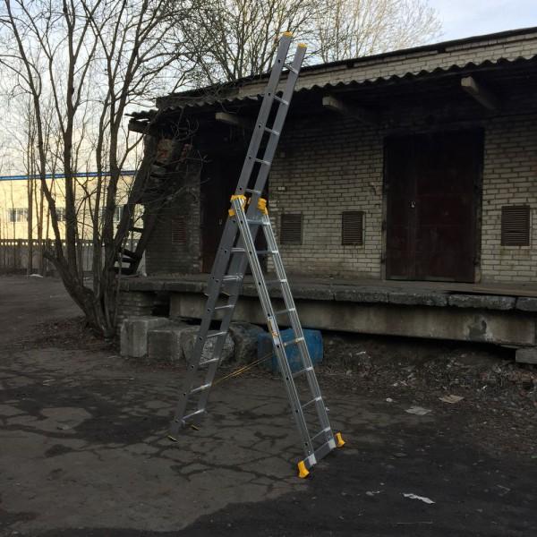 Алюминиевая трехсекционная универсальная профессиональная лестница P3 9308 - 1
