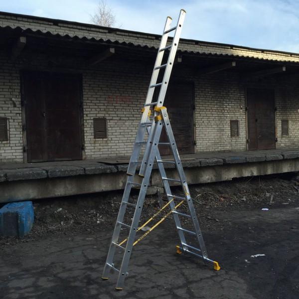 Алюминиевая трехсекционная универсальная профессиональная лестница P3 9308 - 2