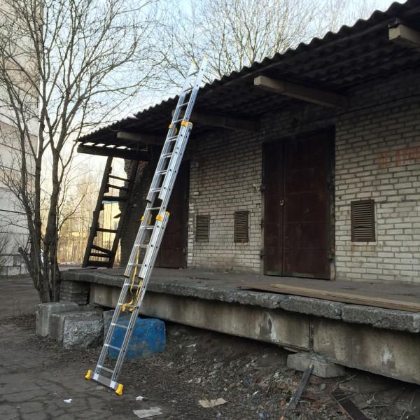 Алюминиевая трехсекционная универсальная профессиональная лестница P3 9308 - 3