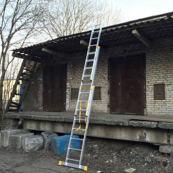 Алюминиевая трехсекционная универсальная профессиональная лестница P3 9308 - 4