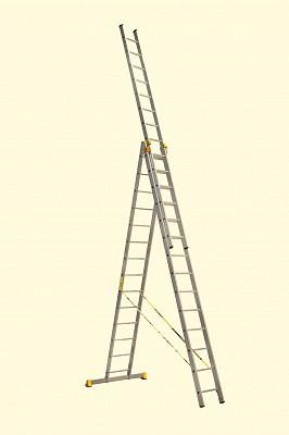 Алюминиевая трехсекционная универсальная профессиональная лестница P3 9314 - 541