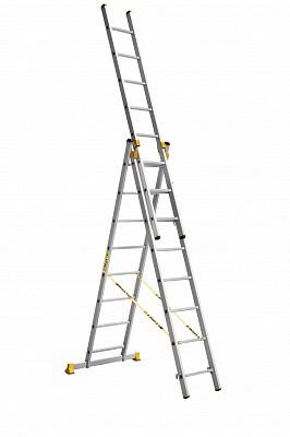 Алюминиевая трехсекционная универсальная профессиональная лестница P3 9308 - 544