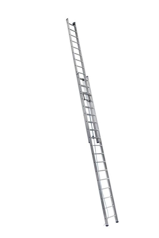 Алюминиевая двухсекционная лестница 3218 выдвижная с тросом - 749