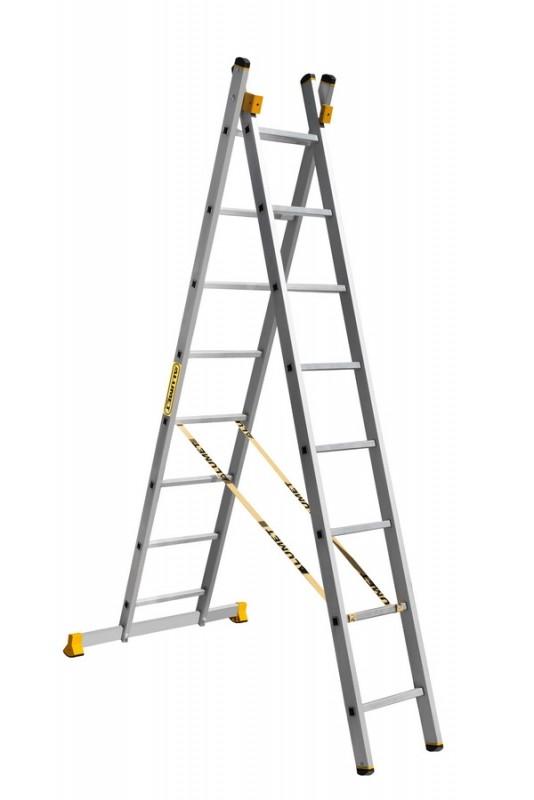 Алюминиевая двухсекционная универсальная профессиональная лестница P2 9208 - 756